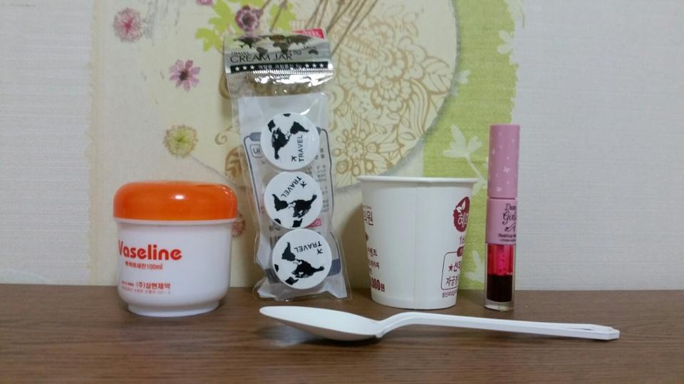 준비물 바세린, 종이컵, 일회용 숟가락, 공병, 틴트, (립밤은 없어도되요!)