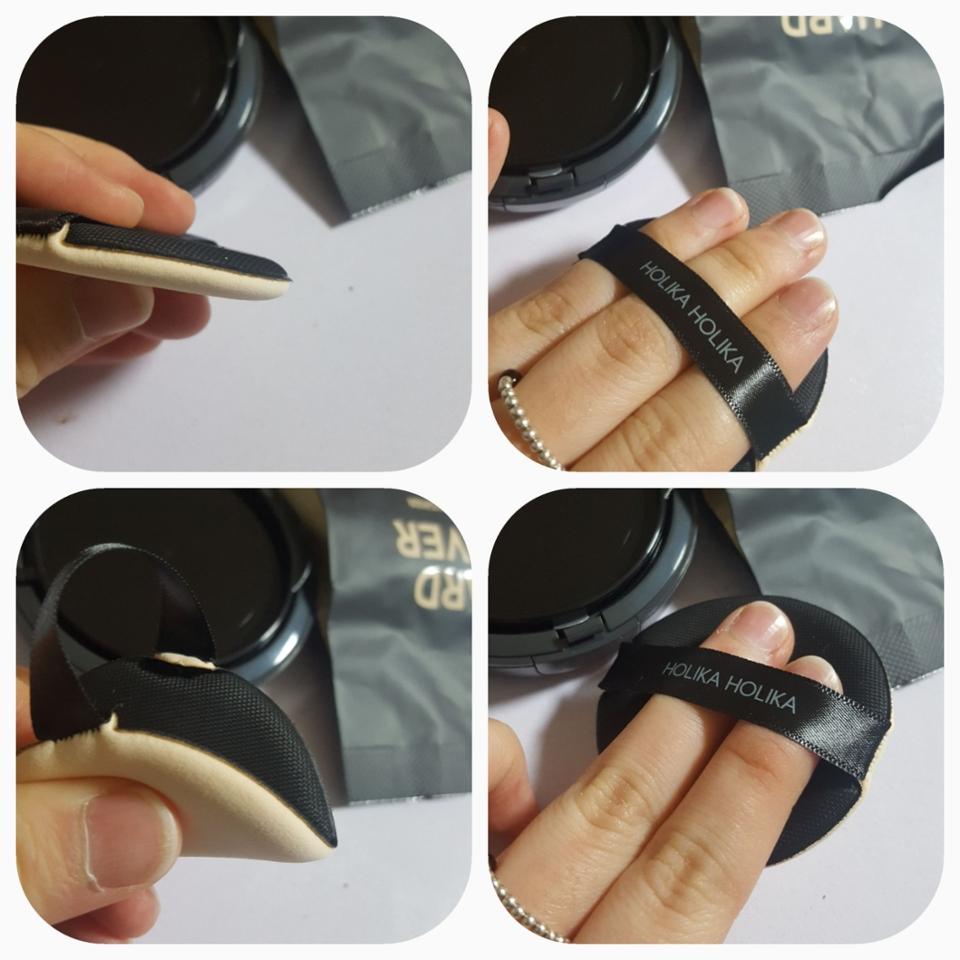 쿠션퍼프도 케이스랑 같은 블랙 컬러 퍼프가 부드럽고 탄력도 나름 좋아요 너무 말랑하지도 단단하지도 않아요 쏘쏘 퍼프끈이 약간 탄력있어서 사용하기에 좋았어요