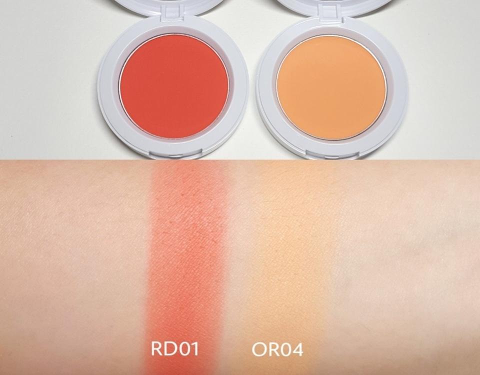 RD01 연한 레드색상이에요 톤에 상관없이 바를 수 있을 것 같아요  OR04 뽀얀 오렌지 색상이에요 흰끼가 조금 섞인 오렌지 색상이에요