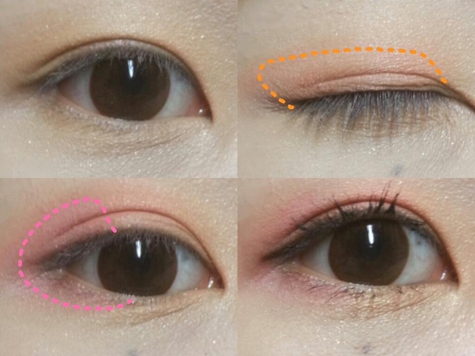 1.뽀송한맨눈에 귤빛섀도(1)를 눈전체에 깔아줍니다 2.눈두덩이를 가로로 반을나누고 점선에표시된 만큼 코랄컬러를 발라줍니다 3.코랄컬러를 바를 뒤쪽점선을따라 언더까지 핑크섀도우를 발라줍니다(눈앞머리까지아니되요) 4.옐로우황금색을 눈앞머리애굣살에 톡톡!