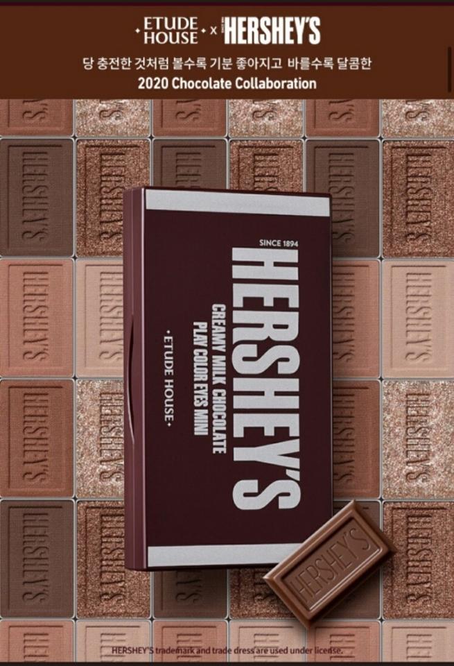 허쉬 x 에뛰드 2020 chocolate collaboration 으로  허쉬 오리지널 팔레트와 허쉬 쿠키앤크림 팔레트🍫 두 가지로 구성되어 있답니다.