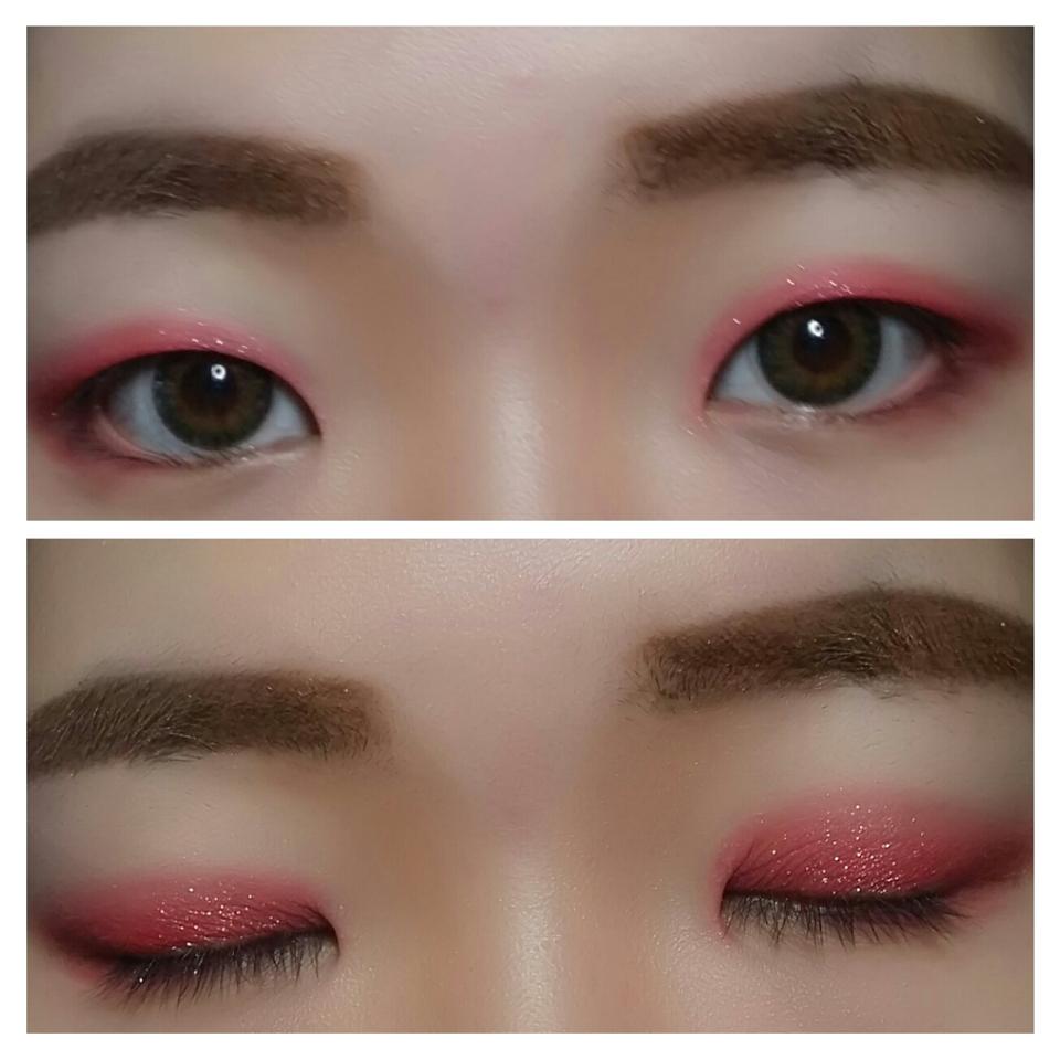2. 눈을 떳을 때 색감이 보일 정도로     핑크빛의 레드펄크림섀도우를 눈 앞머리부터       눈꼬리 아랫쪽 까지 연결해서 발라주세요.