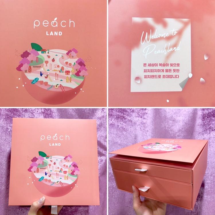 너무 예쁜 미샤 #피치랜드 복숭이 툴키트!!  딱 복숭아가 떠오르는 예쁜 색감의 상자였어요 : )  총 2단으로 구성되어 있었어요