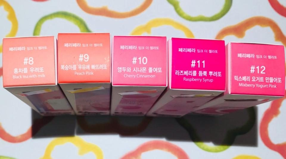 본격적으로!!   작년 가을 페리페라 덕후들 지갑을 털었던 페리페라 가을컬렉션, 핑크의순간! 잉크 더 젤라또 전색상❣️    #8 홍차를 우려또(Black tea with milk)  #9 복숭아를 우유에 빠뜨려또(peach pink)  #10 앵두와 시나몬 졸여또(Cherry Cinnamon)  #11 라즈베리를 듬뿍 뿌려또(Raspberry Syrup)  #12 믹스베리 요거트 만들어또(Mixberry Yogurt Pink)