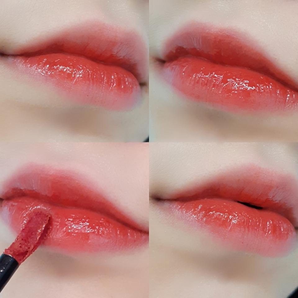 입술 발색입니다! 순서대로 1번 4번은 그라데이션 립, 2번 3번은 풀립입니당 입술에 발색한 색상과 손등에 발색한 색상은 차이가 있을 수 있으니 참고해주세용 🍒💝