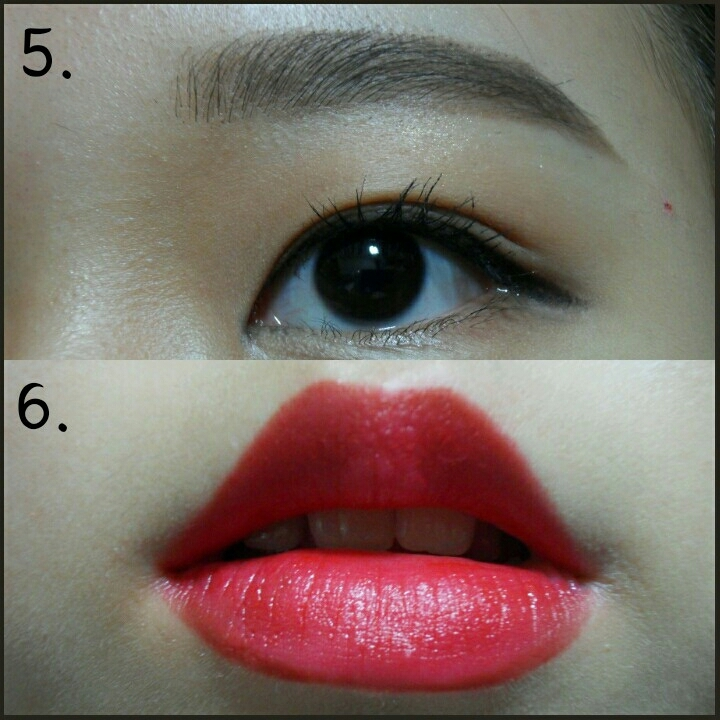 5.눈썹은 평소대로 일자로 그려주세요 6.입술은 립라이너로 일단 그려주시고 그다음에 립스틱통째로 풀립으로 발라주세요
