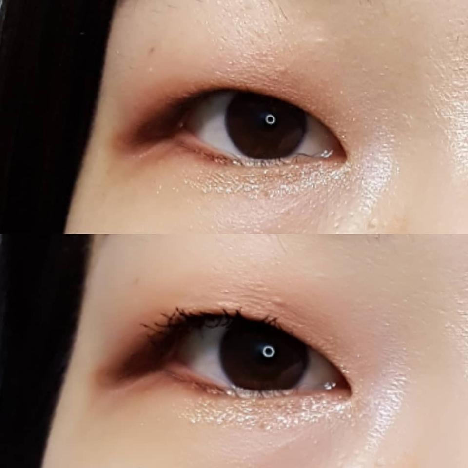 눈을 이렇게 뜨면 처짐이 있는듯보이지만 제 눈에서 이렇게 컬링 강력하게 살아있는 마스카라는 요것뿐입니다.