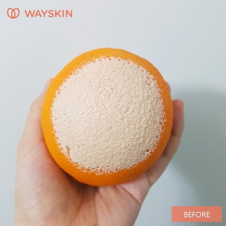 다음으로 파운데이션을 바른 오렌지를 이용하여,  피부결, 모공 사이사이의 세정력, #딥클렌징 을 테스트 해봤어요. 