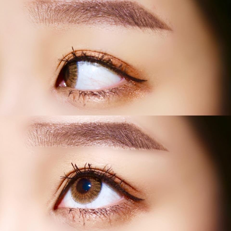 [ 훌라테스트 ]  렌즈가 워낙 얇아서 그런지 눈동자에 착 감기기 때문에  착용감도 좋고 훌라가 전혀 없어용 ! ~~❤
