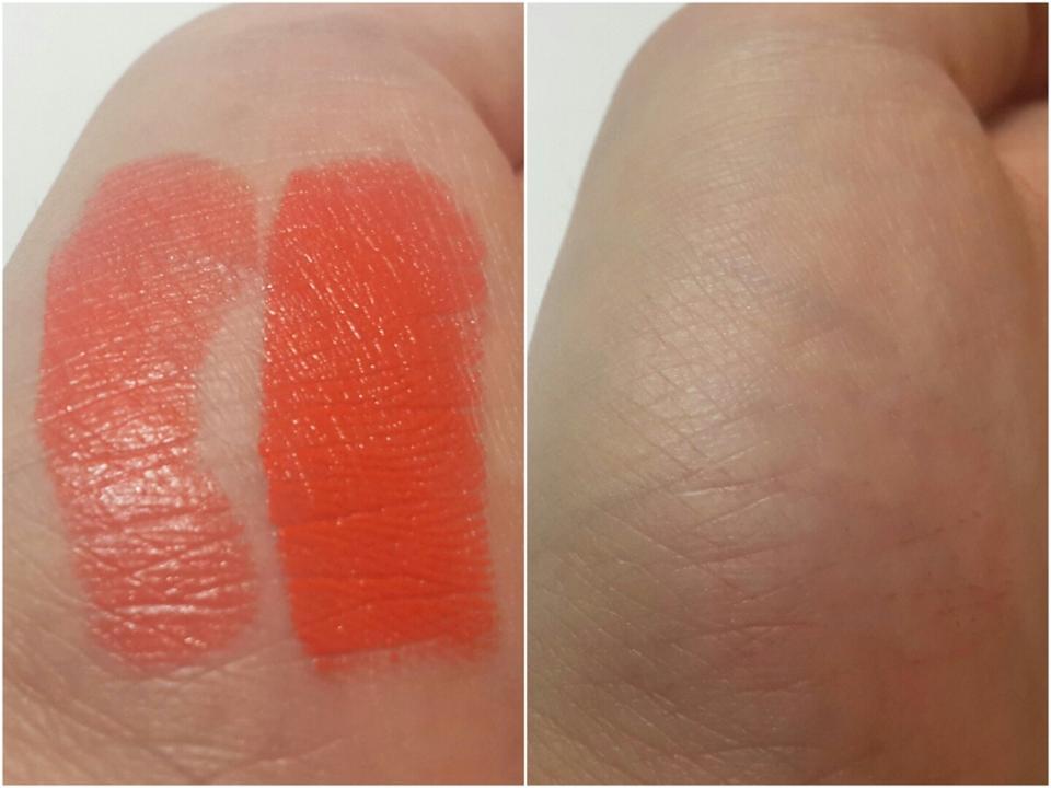 왼쪽사진에서 왼쪽이 1번 오른쪽이 3번 발색한 거구요, 오른쪽 사진은 휴지로 지워본 거에요. 착색은 없습니당. 1번 바르면 투명한 오렌지코랄빛이 돌고, 3번 발색하면 쨍한 오렌지가 나와요ㅎ