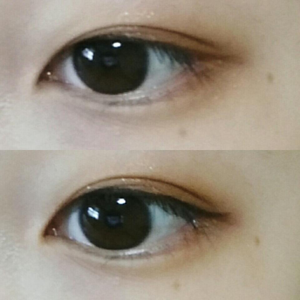 7. 아이라인을 눈꼬리에 맞게 얇고 진하게 그려주세요! ( 점막을 채우고 라인은 눈꼬리부분부터만 그려주세요 )