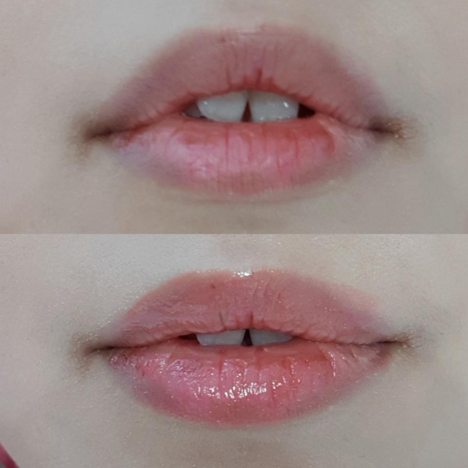 맨 입술 위에 칠해보았어요!   입술이 많이 거칠고 건조했는데 촉촉함이 더해지니 건강해보여요ㅎ