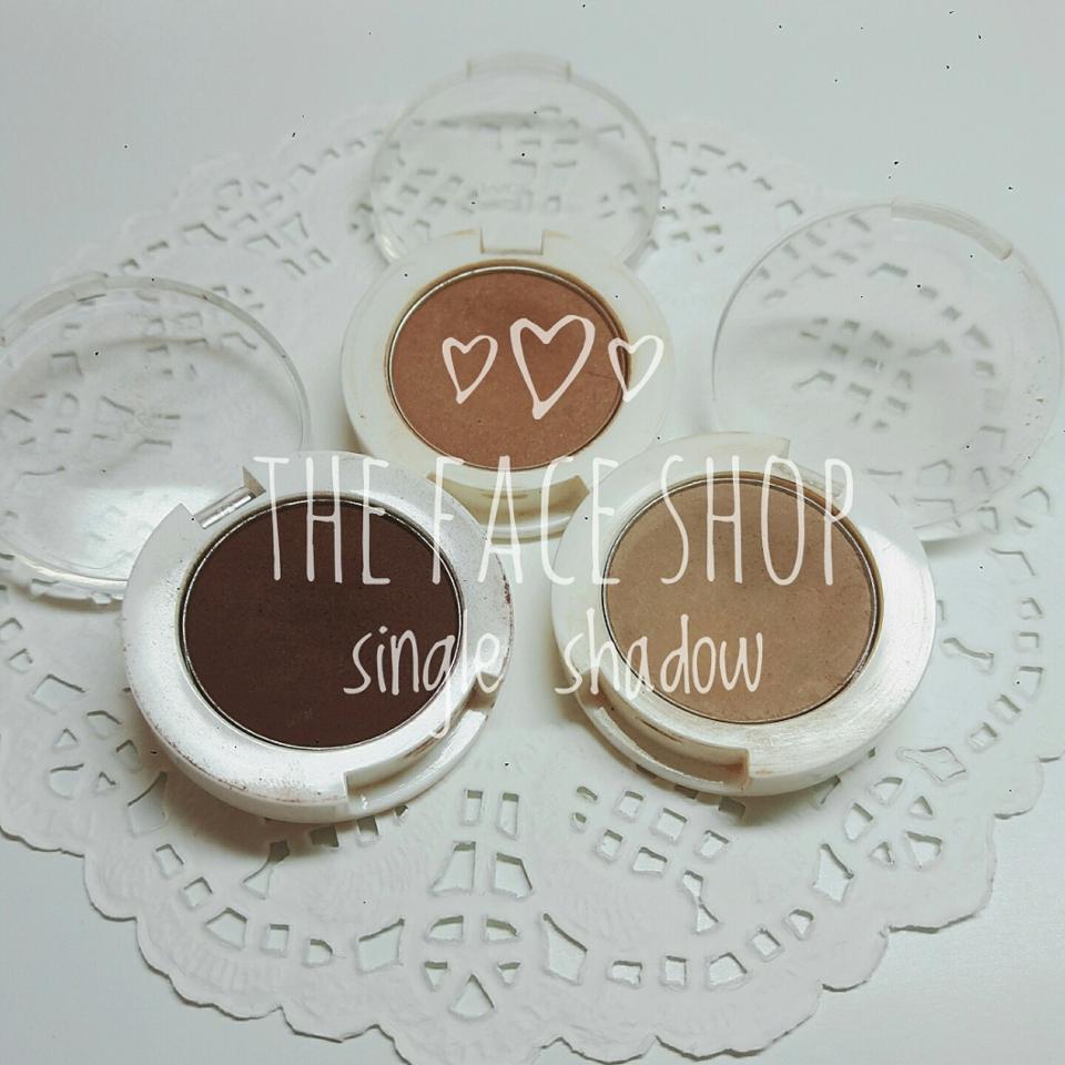 왼쪽부터 더페이스샵 싱글섀도우(매트) 초콜릿 / 토스트 / 쿠키브라운 입니다😉