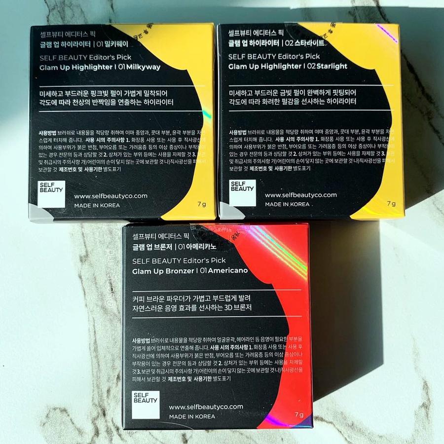 *하이라이터 Color*  01 밀키웨이 : 화사하게 연출되는 핑크빛 펄 02 스타라이트 : 고급스럽고 건강한 피부로 연출해주는  금빛 펄    *브론저 Color*  01 아메리카노 : 자연스러운 음영효과를 주는 커피브라운 컬러