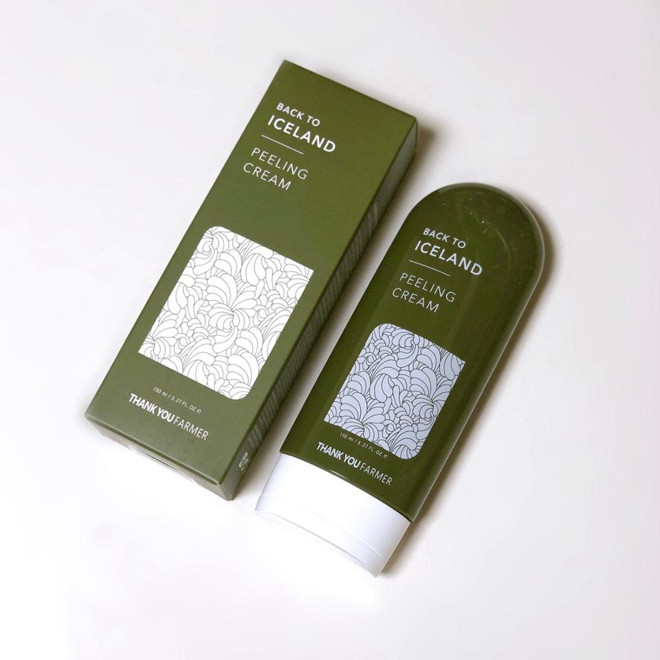 짠! 오늘 리뷰할 언파박스 제품은  땡큐파머 백 투 아이슬란드 필링 크림입니다 피부에 엄청 순할거같아 보이는 녹색 디자인이네용