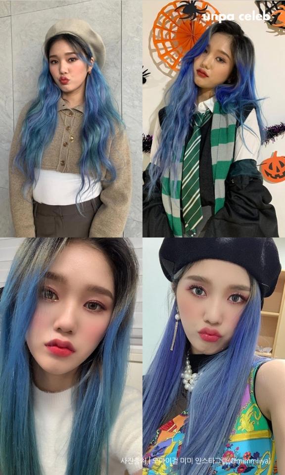 2020년 컬러 클래식 블루에 파생된 회색빛의 애쉬 블루 염색은 내년 겨울까지도 많은 사랑을 받을 걸로 예상돼!  트렌드 컬러 애쉬 블루를 선택한 오마이걸 미미는 오묘하고 신비로운 무드를 연출해 주어 팬들의 마음을 사로잡았어(´▽`ʃ♡ƪ)  머리 전체를 똑같은 색으로 염색하면 살짝 질리거나 단조로울 수 있는데 여러 가지 톤이 섞인 헤어스타일이라 더 유니크하고 멋스러워 보이는 듯해!