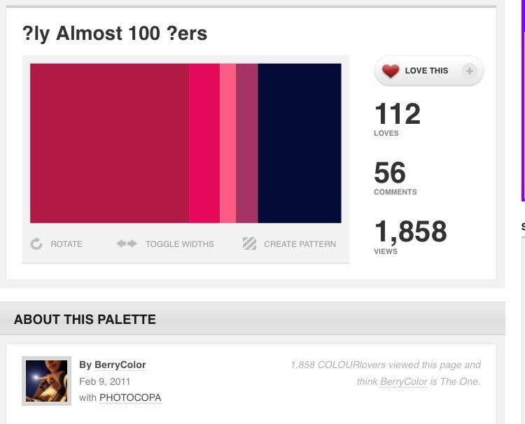 이 틴트랑 어울릴만한 색조합이에요~ COLOURlovers에서 나름 또 애써서 찾아왔어요ㅎㅎ 틴트 색은 완벽히 왼쪽서 두번째 색깔~!!!