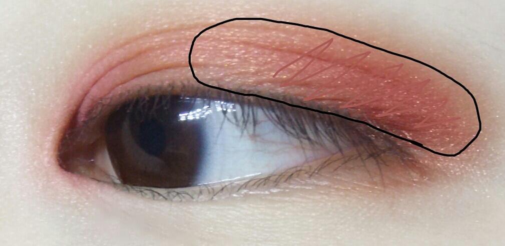 검정색으로표시한 부분에 센치한트렌치+알싸한와인버건디를발아주고 지그재그로표시한부분에 한번더 덧발라줍니다