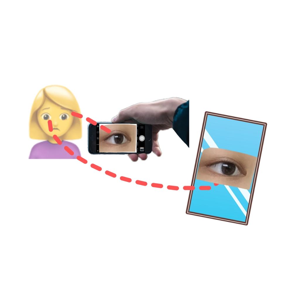 방법을 그림으로 표현하자면 이렇습니당 ⬆️⬆️⬆️ 말로 표현하기 복잡할것 같아 만들어보았습니다̆̈ ☺️ 그림을 설명하자면 휴대폰의 후면카메라로 자신의 눈을 찍는데 찍는 눈과 다른 눈으로 거울에 비친 휴대폰의 화면을 보며 초점과 위치를 잡아주는 식입니다 진짜 별거 없죠 ?!?!! 실망하셨을 분들을 위해 다̆̈ 알고계실지도 모르는 소소한 팁들도 알려드리겠습니다🥰🥰