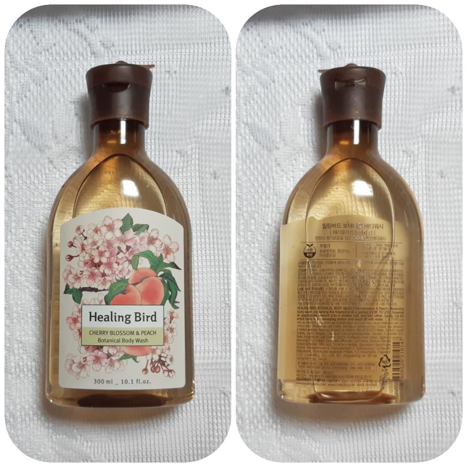 제가 받은 제품은 체리블라썸&피치향이에요. 벚꽃+복숭아향이죠ㅋㅋㅋ🌸🍑 동물성원료, 합성색소, 미네랄오일이 안 들어간 제품이라는 문구가 있네용 (용량은 300ml입니다!)