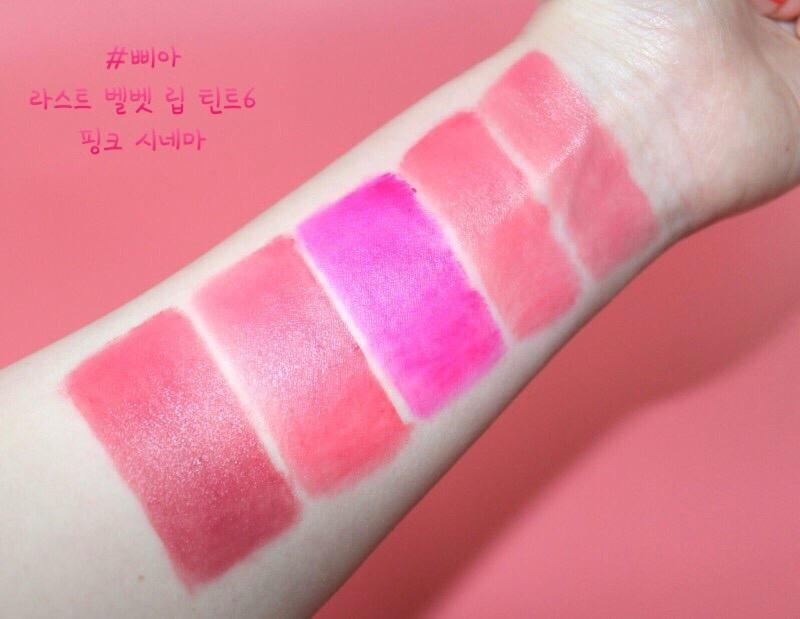 전색상 발색컷인데요.  부드러운 발림성과 선명하게 올라오는 컬러, 뭉침없이 매끄러운 밀착력을 자랑하는 삐아 라스트 벨벳 립 틴트6 핑크 시네마 👍👍