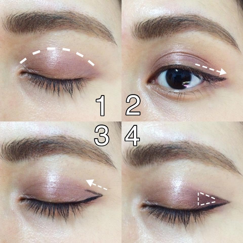 (1) 使用 skinfood #CBR01 奶油質地有光澤感。 (2) 使用眼線液畫內、外眼線。 (3) 沿著雙眼皮摺再畫眼線,連接到剛才的外眼線。 (4) 使用 A'PIEU #BR07 霧面巧克力色畫在兩條眼線內暈染,讓眼神更深邃。