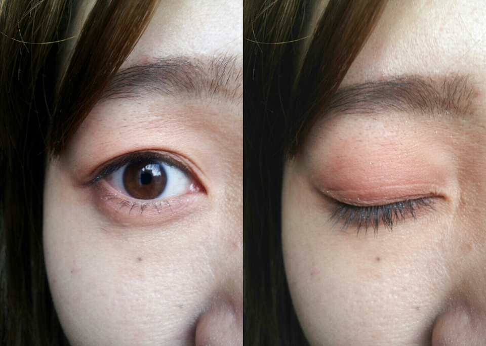 因為我皮膚比較健康色,所以這個顏色在我眼皮上我不會上的太誇張,大概上起來就是這樣,張開眼睛隱約看到顏色就好,也不需要化太超過。