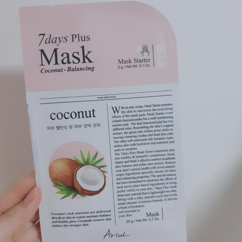 '코코넛-피부 밸런싱 및 장벽강화'는 코코넛향이 고소하고 향긋해서 좋았어요 이거 까지 쓰니 트러블이 줄어드는 효과를 더욱 보았어요 쌀추출물,코코넛 야자열매 추출물이 함유되어 있어요