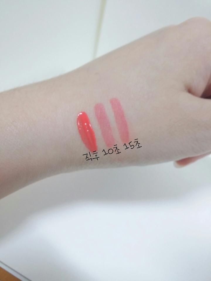 시간대별착색정도구요 시간이지나면서 핑크?빨간기가 조금씩더 올라와요 색을보시면 흰끼있는주황색에서 핑크코랄?오렌지코랄?섞인듯 착색되요