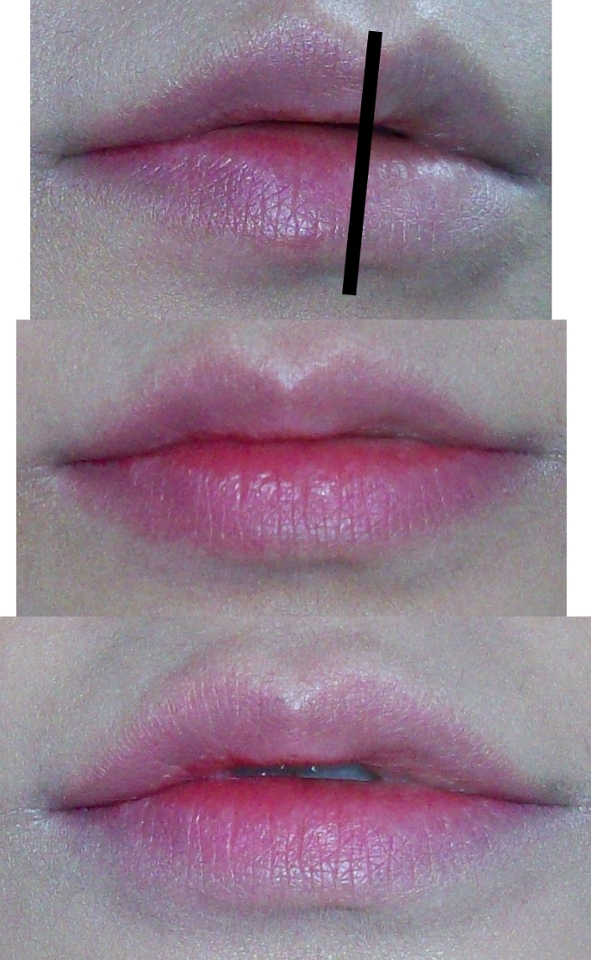 맨위는 입술 주변정리를 한후 왼쪽만 발른 모습입니다. 바르기 전후가 아무리해도 사진 채도가 달라서 반쪽만 발라서 해보았습니다. 두번째는 실패한모습과 전체적으로 1번 더 바른모습.. 마지막은 그라데이션 주어서 수습!!
